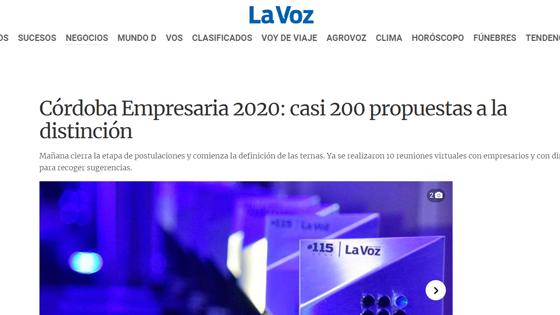 Córdoba Empresaria 2020: casi 200 propuestas a la distinción